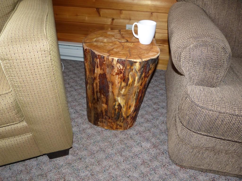 log end table pine ridge outdoors winnipeg manitoba canada